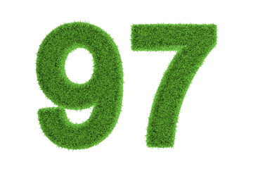 Number 97 with a green grass texture