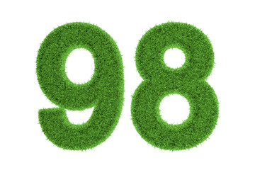 Number 98 with a green grass texture