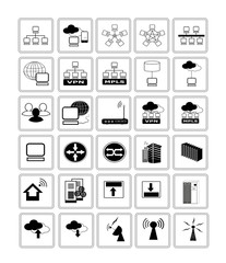 Collection of Network web icon symbols