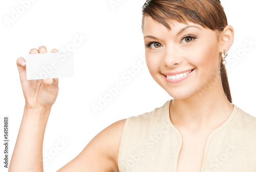 woman with blank business or name card