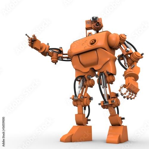 Humanoider Roboter zeigt etwas