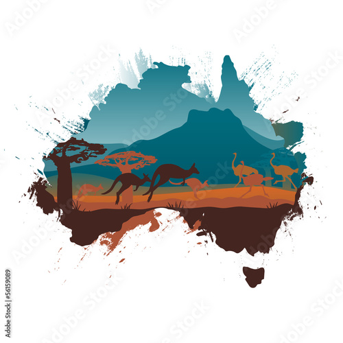 Grunge Australia travel design template