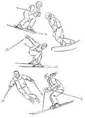 """silhouettes of snowboarders and skiers"""