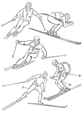 """five silhouettes of skiers"""