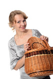 woman holding a basket and smiling