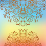Rainbow floral ornament mandala background card
