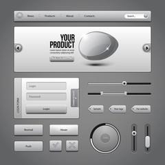 Gray UI Controls Web Elements 3