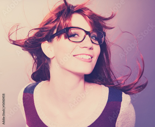 girl with glasses laughing / fashion light leak 11