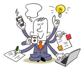 Businessman multitasking (マルチタスク)