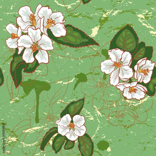 Tuinposter Abstract bloemen Apple Pattern.