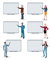 Business People and Empty Digital Whiteboards