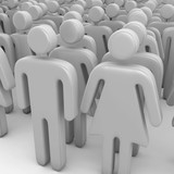 Crowd of 3D people poster
