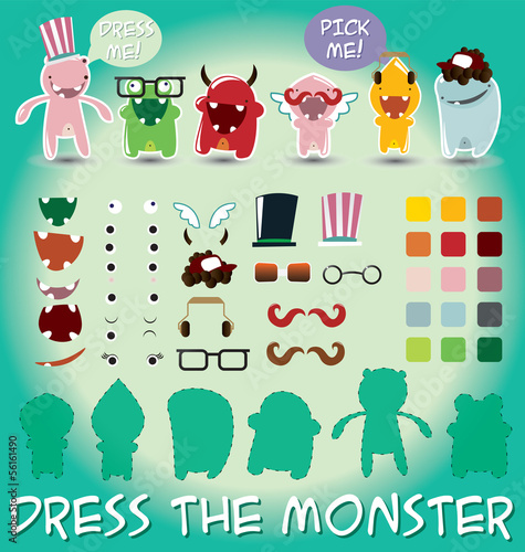 Set of monsters for dress up, vector illustration