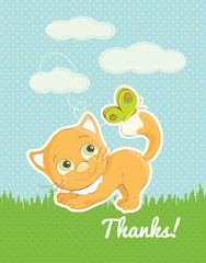 Thank you card with a cute cat illustration