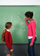Female Teacher Teaching Mathematics To Schoolgirl