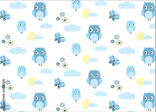 Babyboy owl and a butterfly seamless pattern