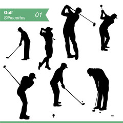 Golf Silhouettes Vector Set