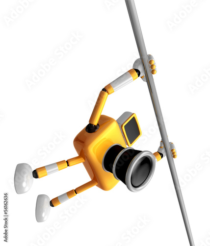 Yellow Camera character is hanging in horizontal bar. Create 3D