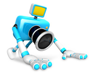 The Cyan Camera Character is push-up. Create 3D Camera Robot Ser