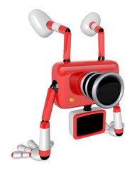 A Red Camera Character on handstanding. Create 3D Camera Robot S