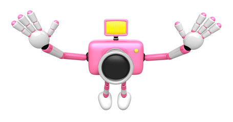 Pink Camera Character in Powerful jumping. Create 3D Camera Robo