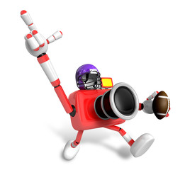 American football playing red camera Character. Create 3D Camera