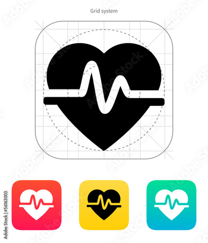 Pulse heart icon. Vector illustration.