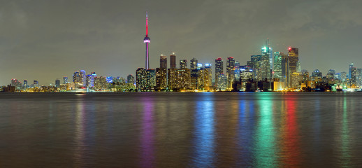 Toronto Downtown Skyline  panorama at night