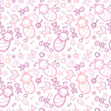 Vector baby girls seamless pattern background with hand drawn