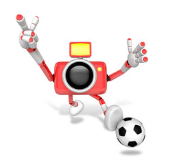 Strong 3d Camera character kicking a soccer ball. Create 3D Came