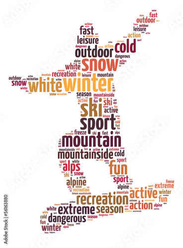 Words illustration of a man snowboarding over white background