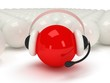 red orb with headset and white balls