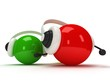 colored orbs with headset isolated over white