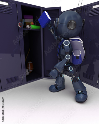 Android with school bag and locker