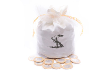 Money bag and coins