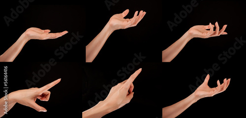 a woman's hand in different positions