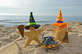 Halloween starfish witches with brooms - Fine Art prints