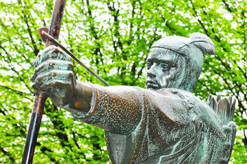 Detail of Robin Hood statue in Nottingham, UK