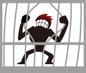 牢屋を壊す男性