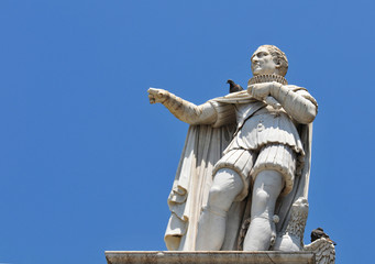 Old statue of medieval count in Nice, France