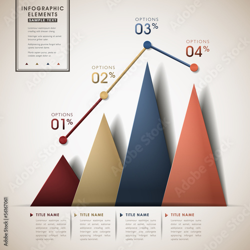 abstract line and triangle chart infographics