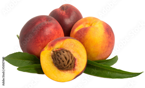 nectarine fruits with pits and leaves