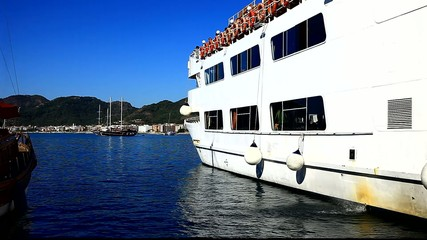 ferry boat in marmaris harbour turkey