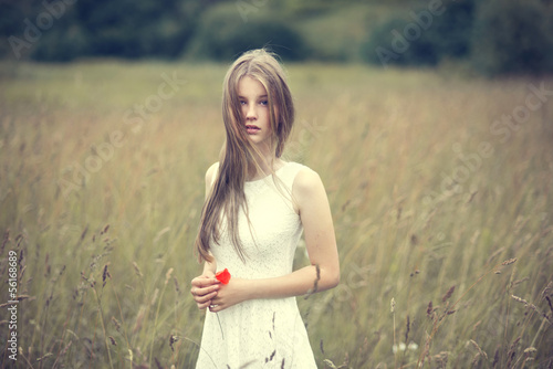 portrait of a beautiful young girl in a field in spring