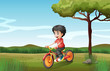 A boy biking at the hill