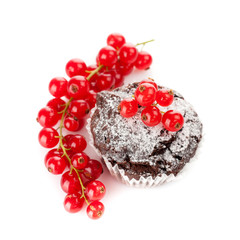 Chocolate muffins with berries red currant
