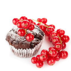 Chocolate muffin with berries