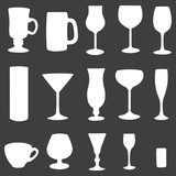 vector icons set: white stemware on dark background
