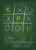 Key performance indicator as tic tac toe game on blackboard.
