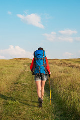 Hiking young woman with backpack and trekking poles walking